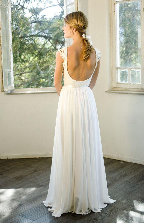 Romantische Vintage Inspirierte Hochzeitskleid Nach Maß Chiffon ...