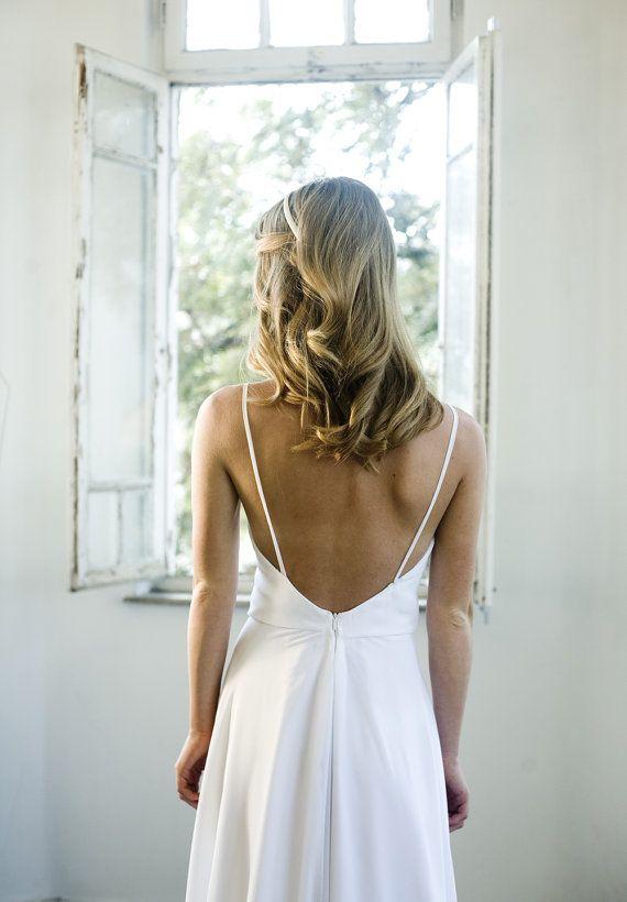 Romantische Weiße Chiffon-Strand-Hochzeitskleid, Hochzeitskleid Mit ...