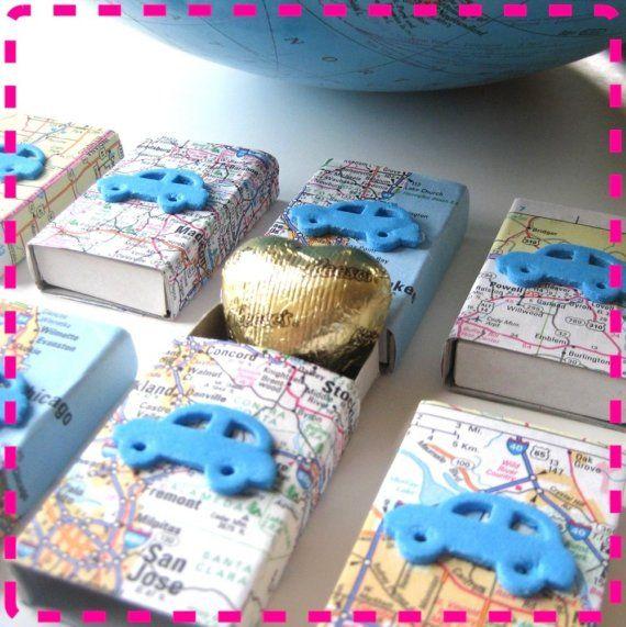 Свадьба - VINTAGE атлас автомобильных дорог карта вечере спичечный коробок вкусности - Party Pack двадцати (20) свадебные сувениры - Recyc
