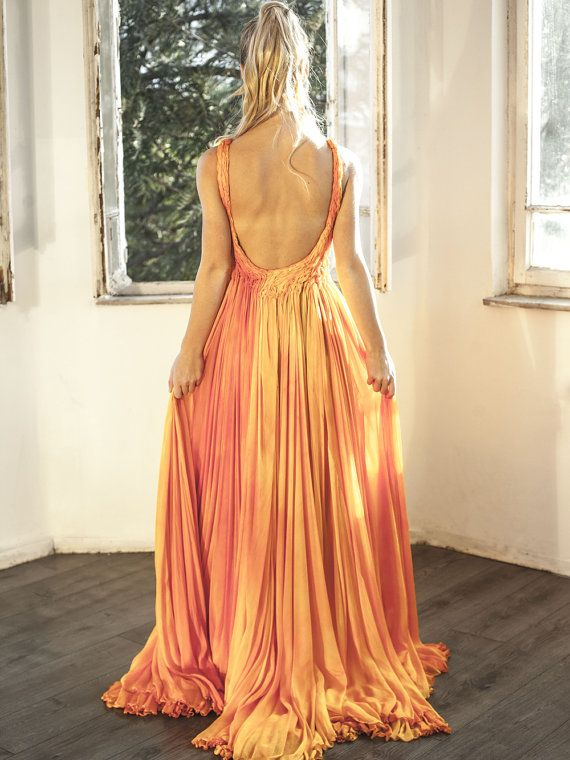 Orange Chiffon Frühling Formelle Brautjungfer Kleid / Prom ...