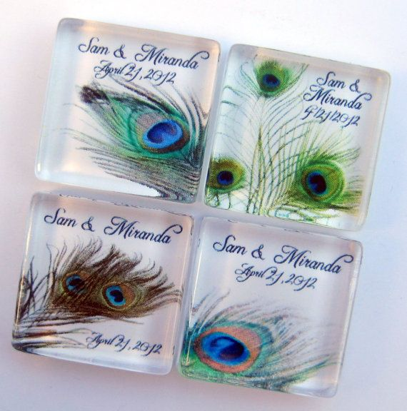 peacock wedding favors personalized magnets 1 inch square glass birthday wedding shower favors 100 magnet favors