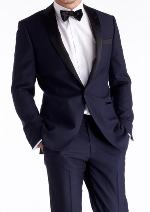 Düğün - Midnight Blue Shawl Lapel One Button Tuxedo Suit