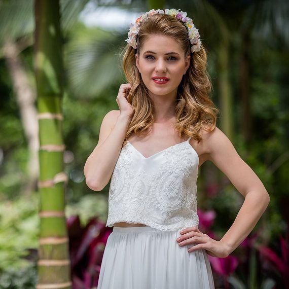 Atemberaubende 2-teilig Spitze Hochzeitskleid Weiß / Elfenbein, Open ...