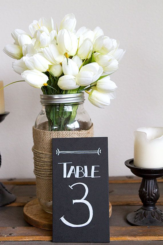 Mariage - Tableau Tableau Numbers - Nombres de Tableau de mariage - Cottage Chic Table Numbers - Nombres de tableau peinture de mariage