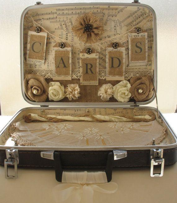 titular de la tarjeta maleta vintage para la boda lamentable de la vintage