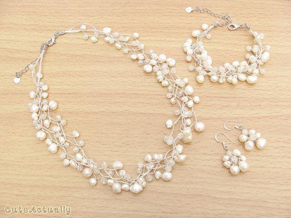 Brautschmuck perlenkette  Schmuck-Set - Weiß Süßwasser Perlenkette, Armband, Ohrring ...