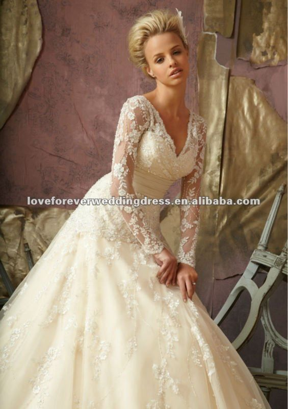 Long Sleeve Lace Organza Vintage Wedding Gowns Bridal 2013 - Buy ...