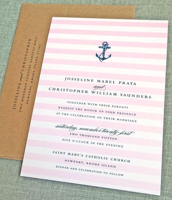 Wedding - Josseline Nautical Wedding Invitation Sample - Pink Ombre Stripes, Navy Anchor
