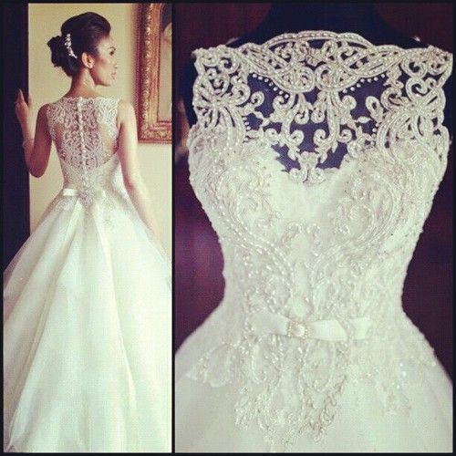 Vintage sleeveless princess beaded lace and tulle wedding for Vintage beaded lace wedding dress