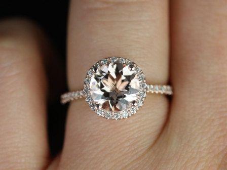 Mariage - Amoureux Taille Kubian Version 2013 14kt or rose mince ronde Morganite Halo bague de fiançailles (autres métaux et pierres Optio