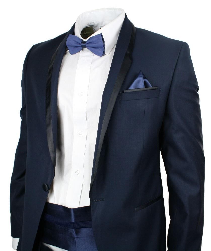 Mariage - Zapprix Mens Navy Blue Dinner Tuxedo Suit