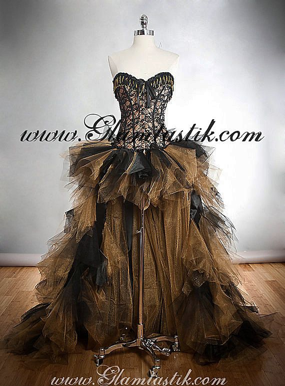 Custom Size Black And Gold Lace Chain And Tulle Burlesque Corset Dress Short In The Front Long Train In The Back 2137879 Weddbook