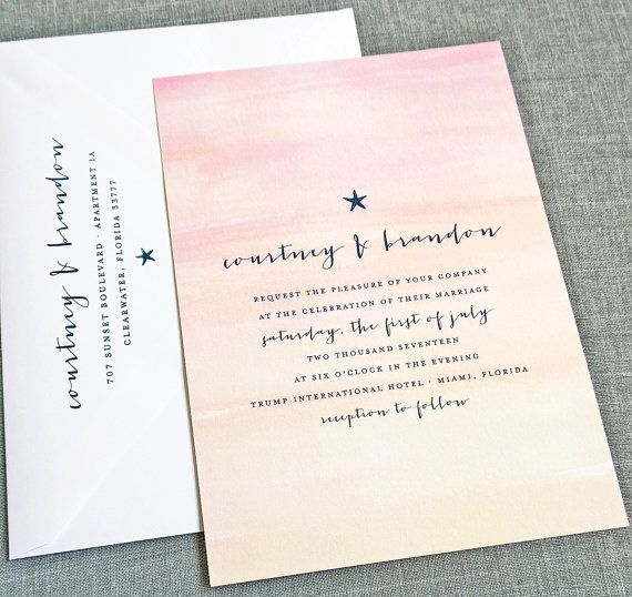 New Courtney Watercolor Sunset Beach Wedding Invitation Sample