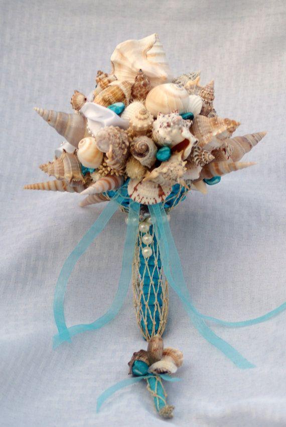 Blu Seashell Bouquet Beach Wedding Sposa Di Destinazione Mare Matrimonio 2139038