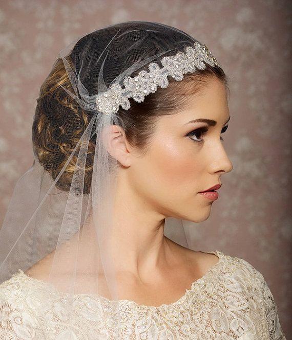 Hochzeit - Ivory Juliet Cap Veil Veil Tulle Cap Vintage inspirierte Art Deco Gatsby Wedding Veil Veil Kristall - SIMONE Design-