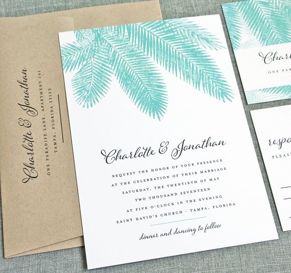 Wedding - NEW Charlotte Teal Palm Tree Wedding Invitation Sample - Beach, Destination, Tropical Wedding Invitation