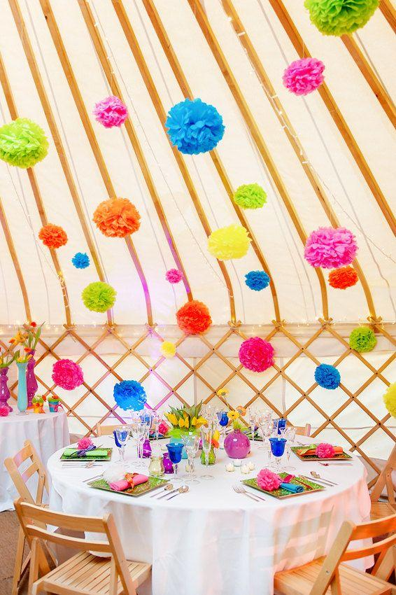 10 x large handmade tissue paper pom poms choice of colours weddings garden parties. Black Bedroom Furniture Sets. Home Design Ideas