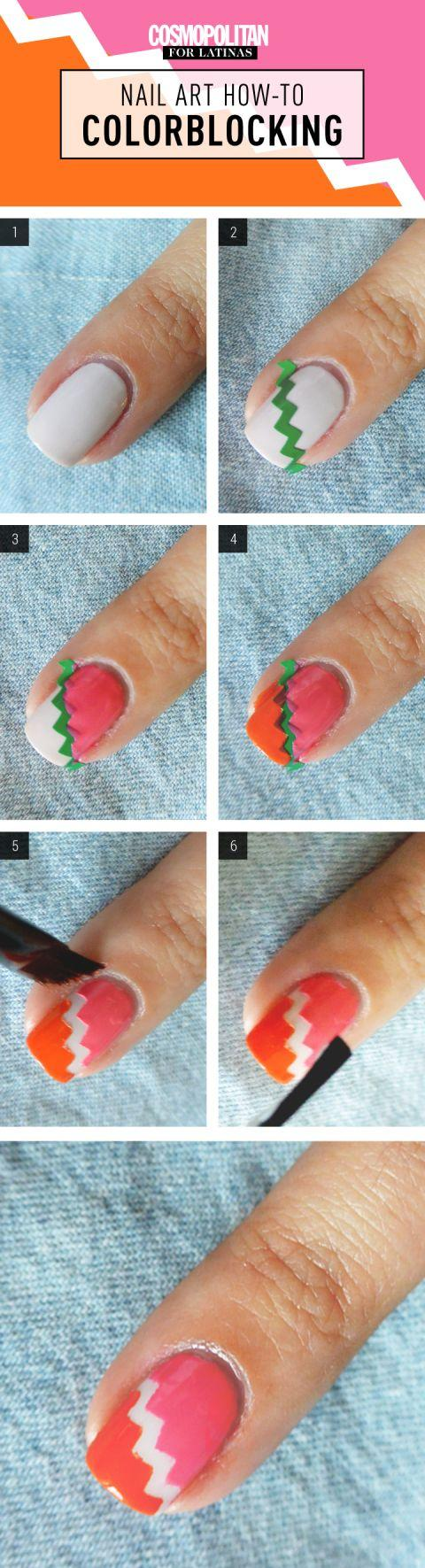 Mariage - Nail Art How-To: Chevron couleurs contrastées