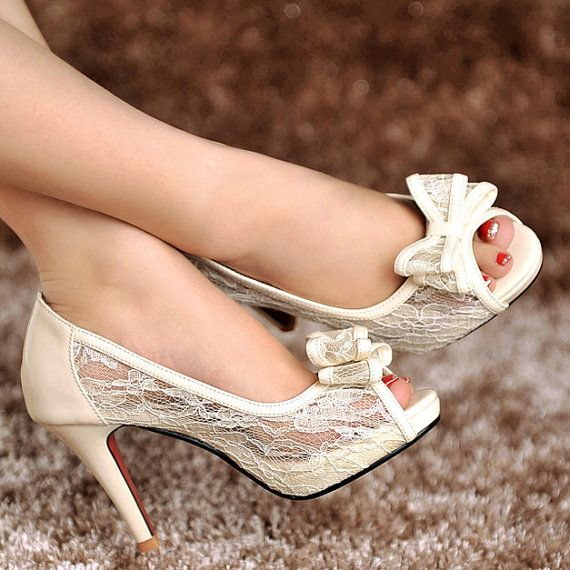 Vintage Style Ivory White Lace Genuine Leather Wedding Shoes Bride ...