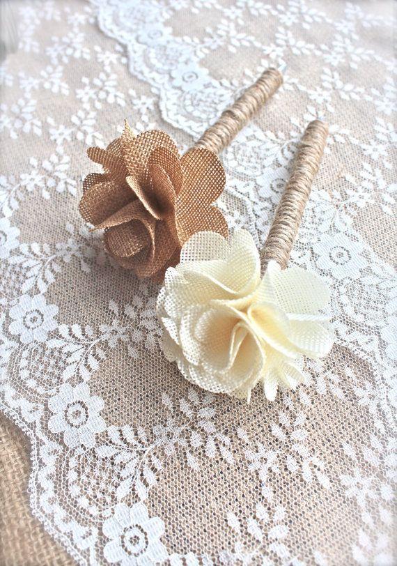 Sackleinen Gastebuch Pen Leinwand Blumen Rustic Chic Vintage
