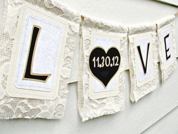 Liebe am elfenbein spitze hochzeit banner leinwand - Vintage and chic love ...