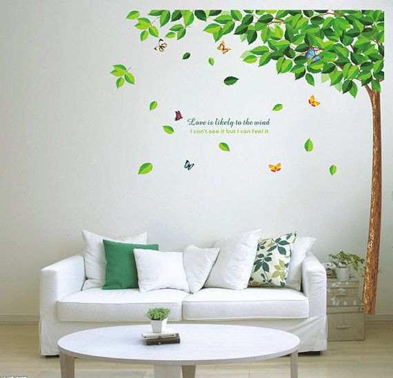 Wall Art Murals Vinyl Decals Stickers : Diy green tree and butterfly removable vinyl wall decal