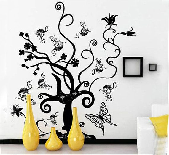 Black tree flower rattan butterfly diy vinyl wall sticker for Black tree wall mural