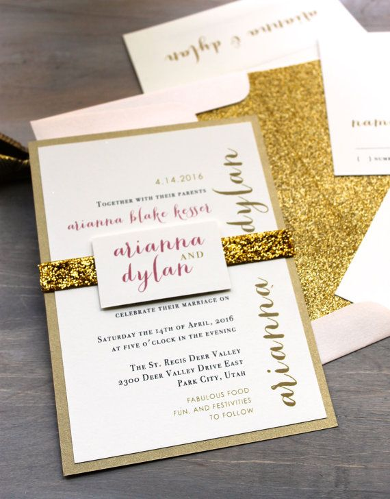 glitter invitations wedding invitations gold wedding invitations