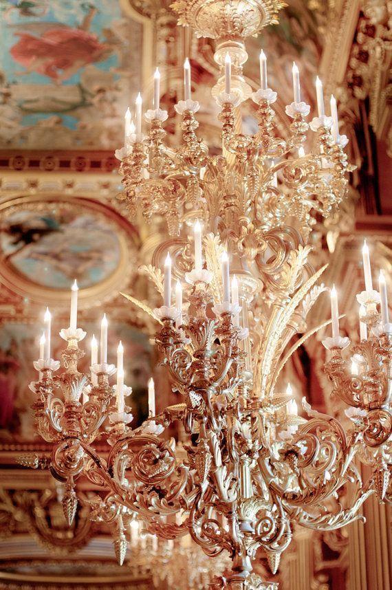 Paris Photo Gold Chandelier At The Opera Garnier Ornate Fine Art