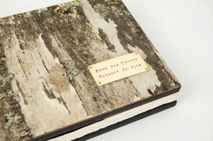 Très Livre D'Or - Custom Birch Bark Mariage Bois Livre - Rustique  NJ79