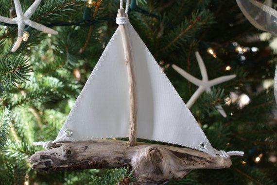 Свадьба - Driftwood Парусник Украшение Сделано Из Отставных Паруса