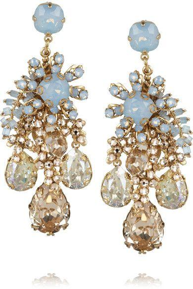Wedding - Forget Me Not Gold-plated Swarovski Crystal Earrings