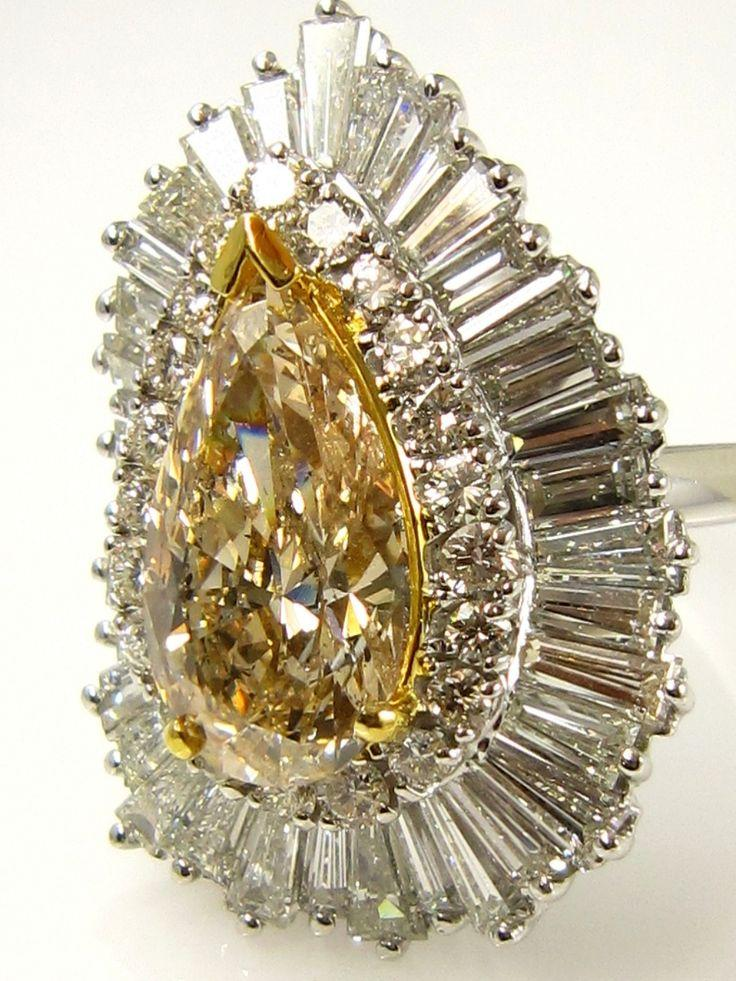 """Wedding - Vintage 8.68ctw A Breathtaking Circa 1930s Estate """"BALLERINA"""" W/ Fancy Brown Pear Shape And White Baguettes Round Diamond Cocktail Ring EGL"""
