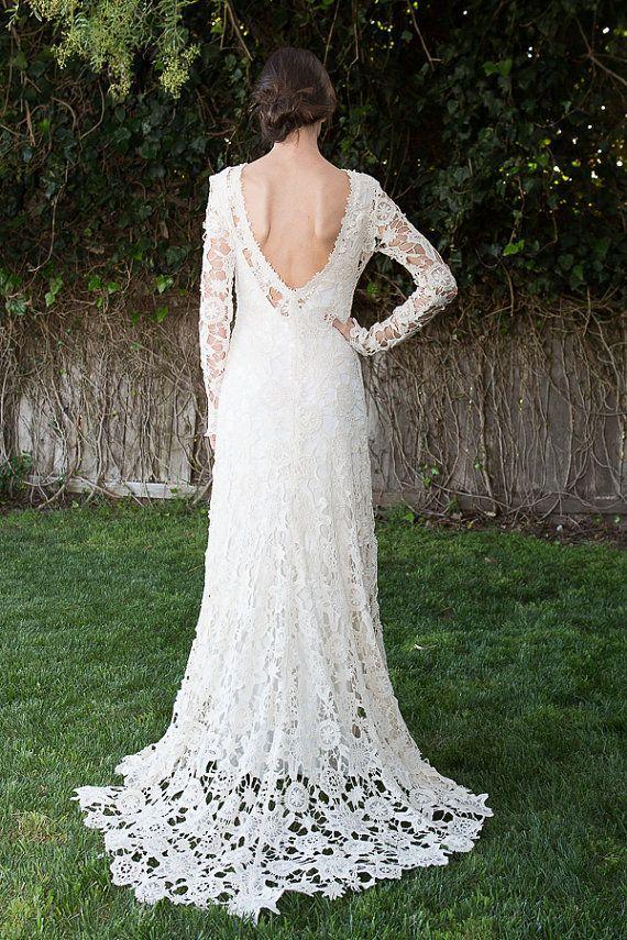 низкая задняя богемный свадебное платье вязание крючком кружева