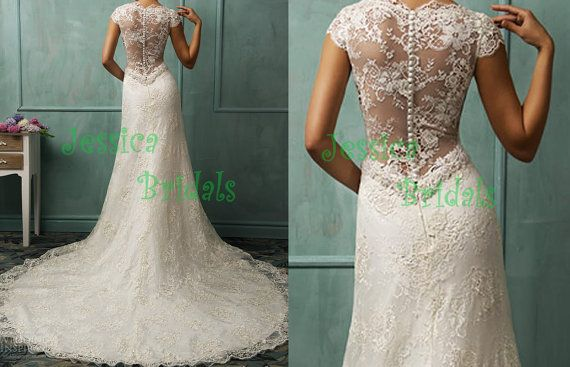 Wedding - Sheer Lace Low V Back Cap Sleeves Lace Wedding Dress Wedding Gown