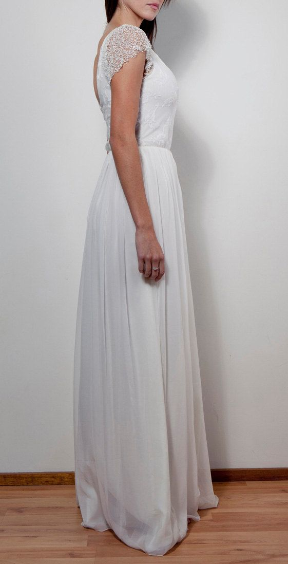 زفاف - الرباط العاج الفرنسية الحرير الشيفون فستان زفاف مطرز توج كم Floaty التنورة