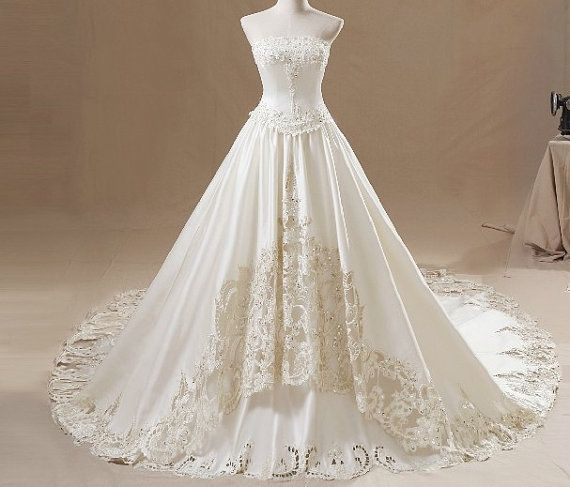 Wedding Dress Pure Handmade Bridal Ball Gown Church Beach