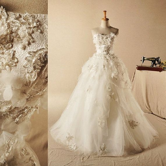 Wedding Dress Pure Handmade Bridal Ball Gown Lace Church Beach