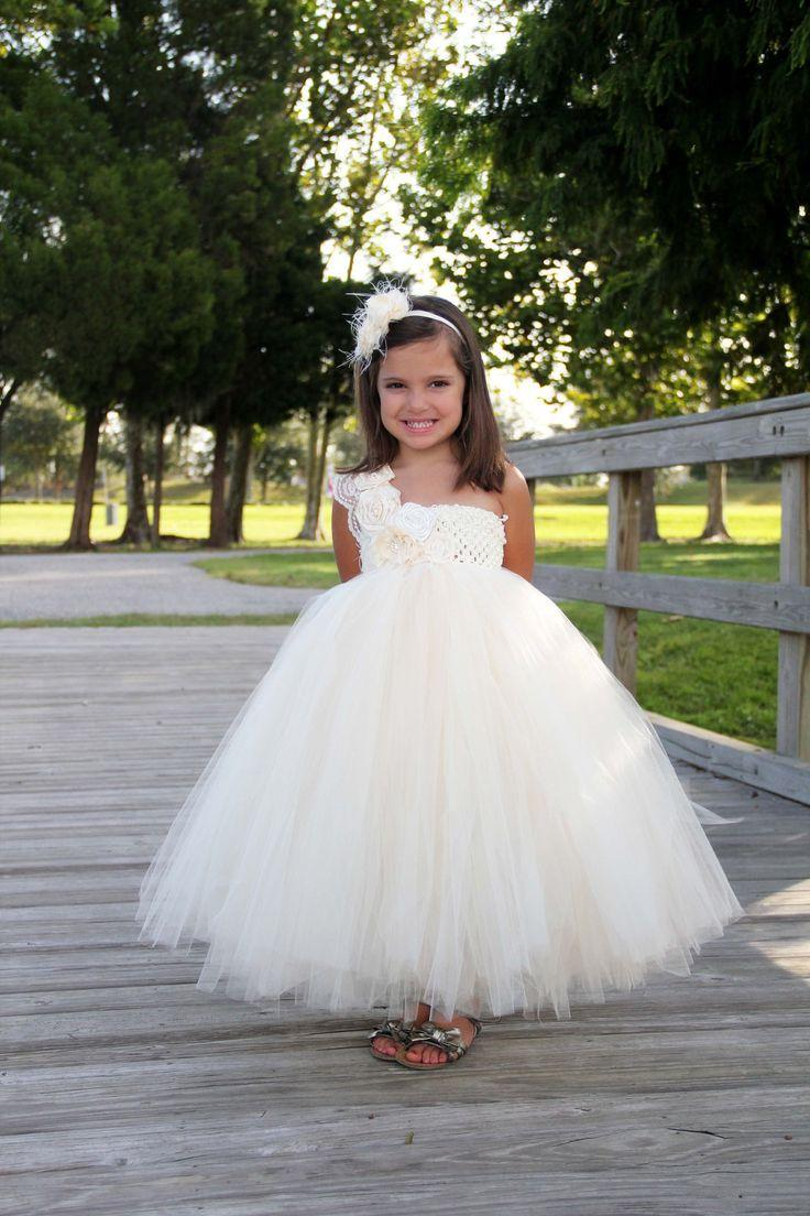 elegant ivory flower girl tutu dress flower girl dress tutu dresses headband ivory wedding. Black Bedroom Furniture Sets. Home Design Ideas