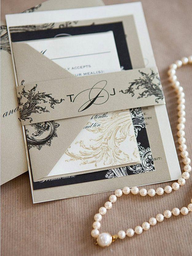 Mariage - Limeade Deluxe Invitation de mariage Suite - or, noir et ivoire