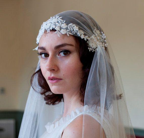 Mariage - Dramatique Juliet Cap Voile avec perles dentelle florale, Kate Moss style Veil, la cathédrale Longueur Veil, chapelle Longueur V