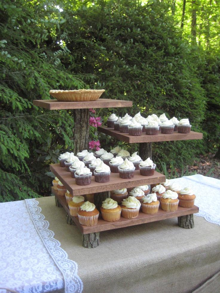 Wedding - Rustic Wedding Cake Stand Mini Cupcake Stand Dessert Server Log Slice Natural 4 Tier