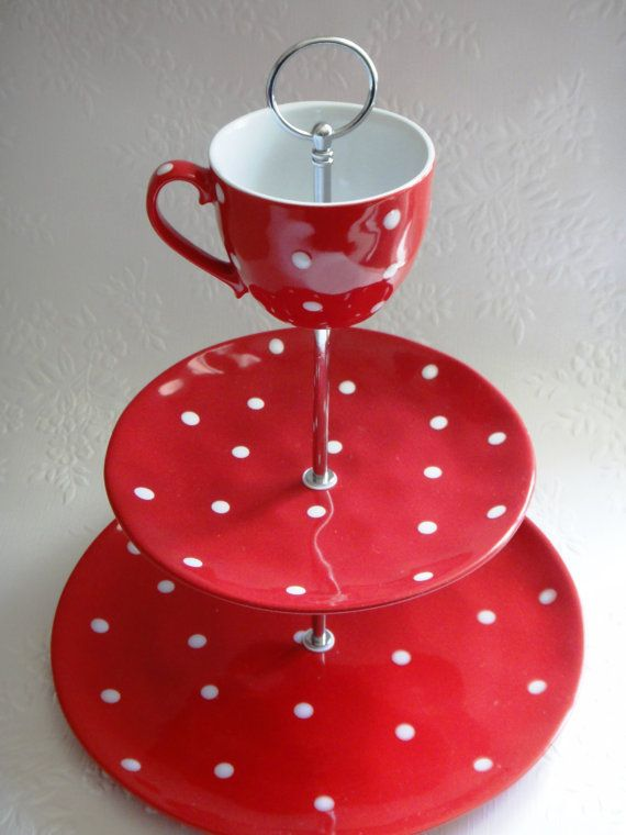 sale 3 tier mw red sprinkle cake stand white spots polka