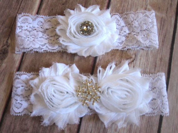 Wedding - Snowflake White Wedding Garter Set