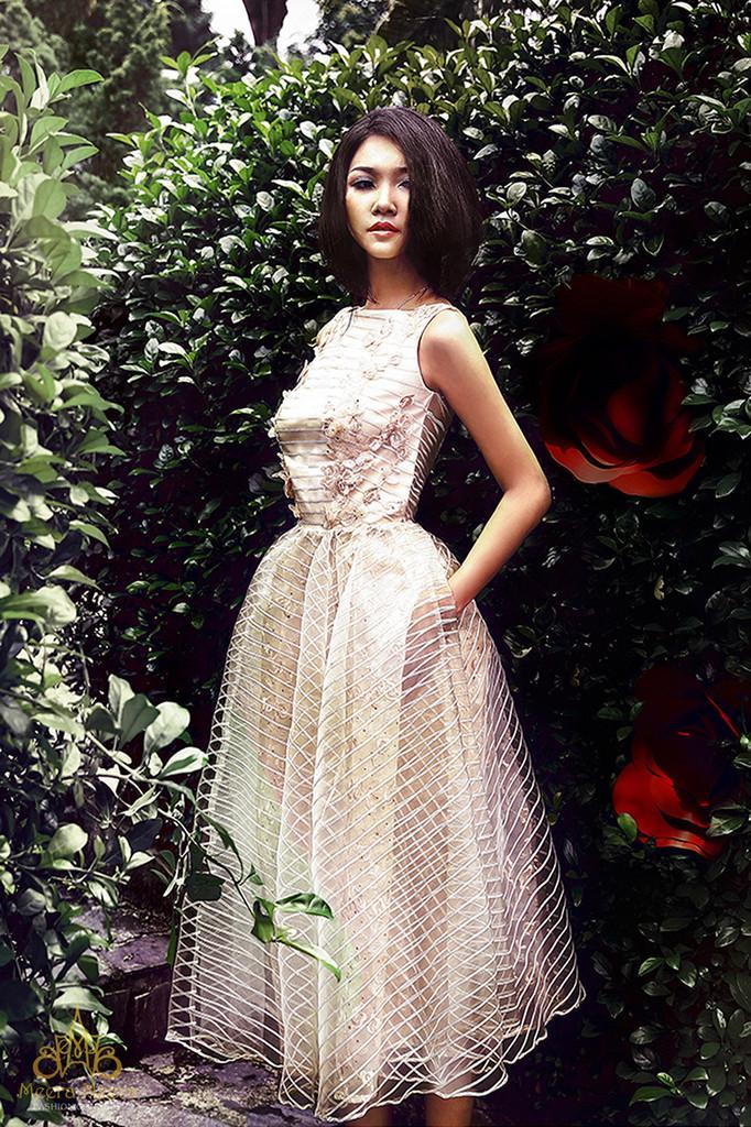 Свадьба - Sleeveless tea-length pastel pink wedding dress Code 4225A