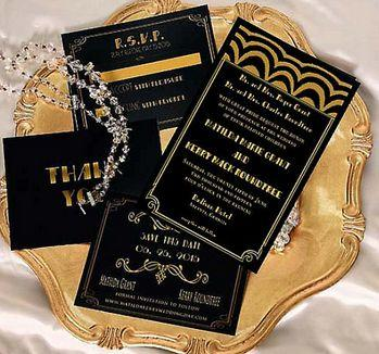 Gatsby Wedding Invitation Old Hollywood Invitations Black Gold Art Deco Listing Is For Sample Only