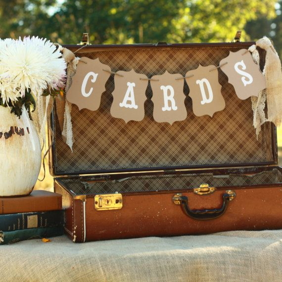 Cards Wedding Banner Sign Suitcase Rustic Burlap 2145772