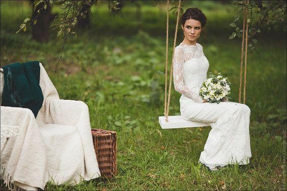 Hochzeit - Ausgestattet Art-Spitze lange Hochzeits-Kleid mit Ärmeln Lase M38, Elfenbein-Spitze-Hochzeits-Kleid, Hochzeitskleid mit langen Ä