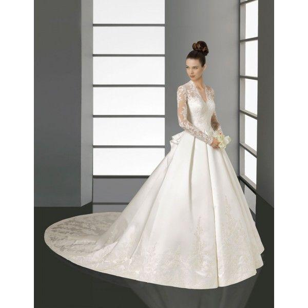 Ball Gown Wedding Dresses With Long Sleeves : Ball gown long sleeves lace satin wedding dress a line