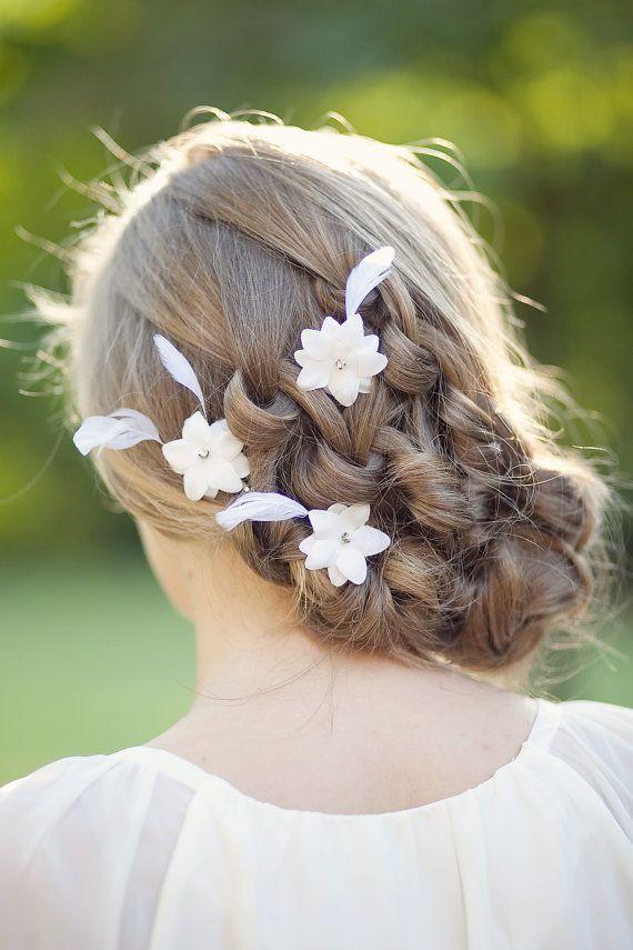 Weiss Brauthaar Blumen Hochzeit Haarschmuck Hochzeits Feather
